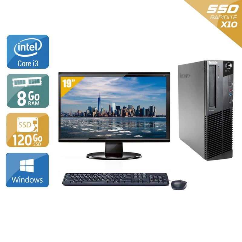 Lenovo ThinkCentre M91 USFF i3 avec Écran 19 pouces 8Go RAM 120Go SSD Windows 10