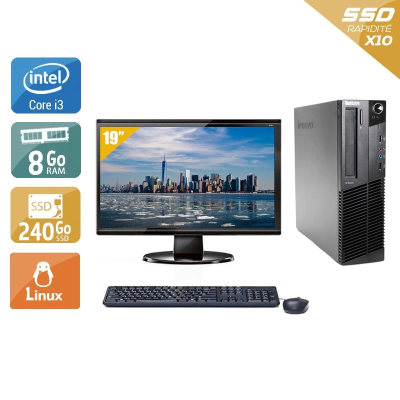 Lenovo ThinkCentre M91 USFF i3 avec Écran 19 pouces 8Go RAM 240Go SSD Linux