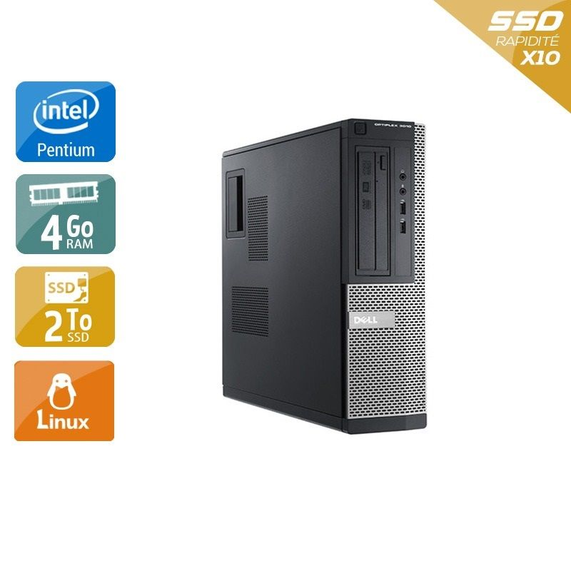 Dell Optiplex 3010 Desktop Pentium G Dual Core - 4Go RAM 2To SSD Linux